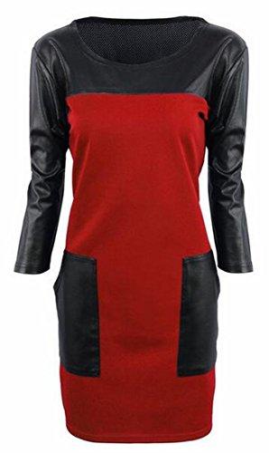 Stitching Jaycargogo PU Dress Red Bodycon Sleeve Womens Long Casual Midi 66qxPBtwO