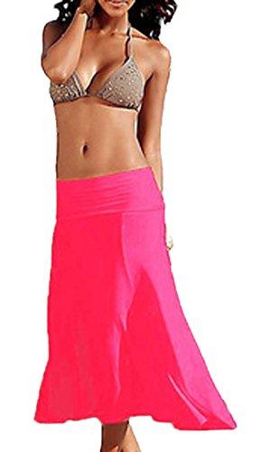 t Femmes Bandeau Midi Robes de Plage Casual Couleur Unie Bikini Cover Up Rose