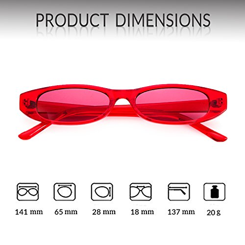 1 ADEWU Retro De Petit Soleil Oval Femmes Clout Red frame Goggles Lunettes lens Hommes Red CHgRxq6Cw