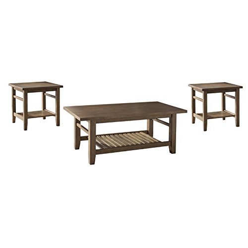 Ashley Furniture Signature Design - Zantori Occasional Table Set - Includes Cocktail Table & 2 End Tables - Light Brown (Living Room Rustic Set)
