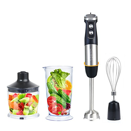Hand Blender Stick 500 Watt 4-in-1 Set with Stainless Steel Blades and 6 Speed Control Includes Chopper, Whisk, Beaker Accessories for Baby Food, Soup, Kitchen