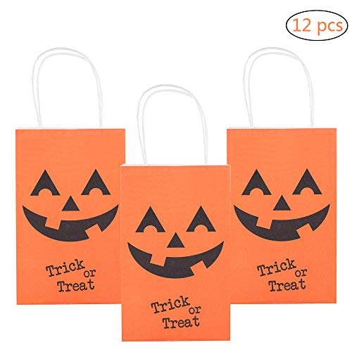 MISS FANTASY Halloween Trick or Treat Bags Pumpkin Candy Bags Jack O Lantern Loot Bags Halloween Costume Party Goodie Bags for Kids Pack of 12 (Orange Pumpkins) -
