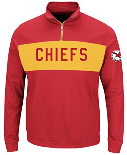 Kansas City Chiefs NFL Mens Majestic Goal Line 1/4 Zip Long Sleeve Sweatshirt Red Big Sizes (6XL)