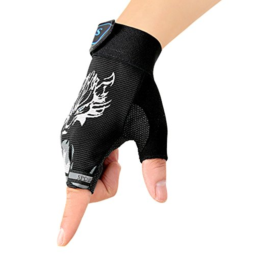Cycling Fingerless Gloves Half Finger Non-Slip Kids Outdoor Sports Bike Riding Gloves for Fishing Bicycle Roller Skating Hunting Climbing for Girls Boys ()