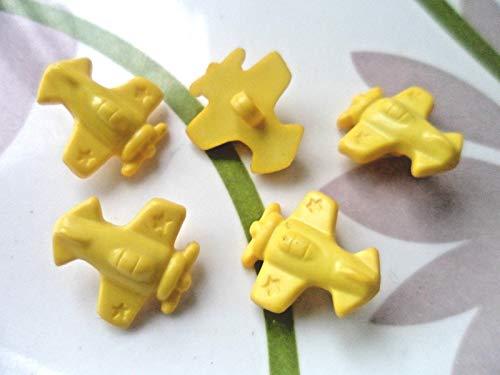 40pcs Plastic Button Theme Aeroplane Craft Card-Making Applique Yellow