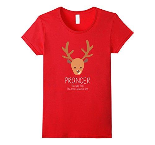 Womens Reindeer Prancer Christmas Matching Group Costume T-Shirt Small (Vixen Reindeer Costumes)