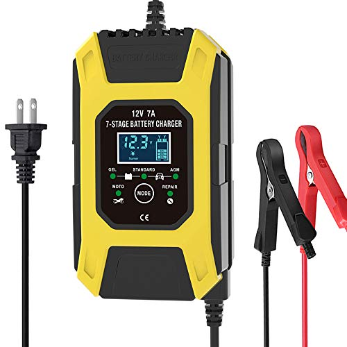 Luoges Car Battery Charger/Maintainer 12V / 7A / New Upgrade 7-Stage Yellow