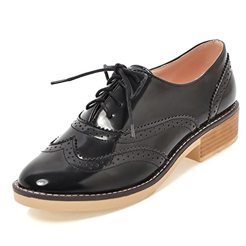 Shoes Womens Leather Dress Brogue Wingtip Oxfords Heel Black Chunky Patent Lace Odema Up Low Pu R7wOtdRq