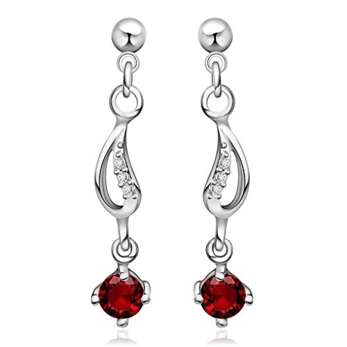 fonk: new silver plated earrings insets Ruby stud brinco wedding decoration HBE024