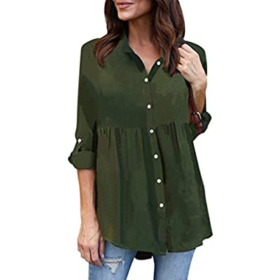 TAORE Womens Tops Womens Plus Size Chiffon Button Down Long Sleeve Casual OL Work Shirt Tops T Shirt