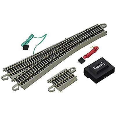 Bachmann Trains - Snap-Fit E-Z TRACK #5 TURNOUT - LEFT (1/card) - NICKEL SILVER Rail With Gray Roadbed - HO Scale: Toys & Games