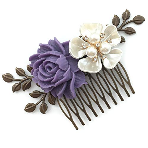 Aegenacess Wedding Brides Hair Decorative Comb Bridesmaid Gift - Purple Lilac Lavender Resin Flower - Floral Side Clips Vintage Antique Brass Leaf Filigree Bridal Hair Accessories for Women and Girls -
