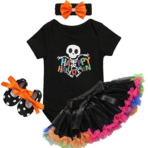 Baby Girls Halloween Costume Tutu Dress Pumpkin Romper Dress Jumpsuit Outfits Boutique Kids Clothing Newborn Photography Props 4PCS Black Skeleton 3-6 Months ()