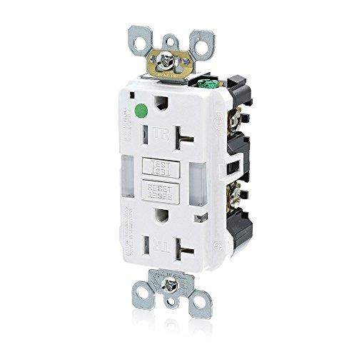 Leviton GFNL2-HGW 20A-125V Hospital Grade Tamper-Resistant Guide Light Duplex Self-Test GFCI Receptacle, White, 20-Amp