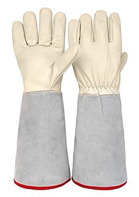 Thornproof Leather Rose Gardening Gauntlet Gloves by Euphoria Garden