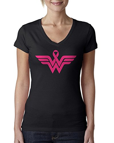 Breast Cancer Awareness Pink Ribbon Superhero Logo Ladies V-Neck T-Shirt Medium Black