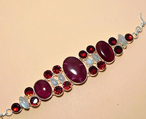 Natural Rainbow Moonstone, Ruby, Red Garnet Hydro Silver Overlay Fashion Jewellery Bracelet 8.50 Inch - Moonstone Ruby