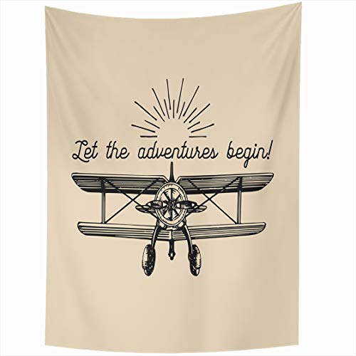 AlliuCoo Wall Tapestries 60 x 80 Inches Let Adventures Begin Motivational Quote Vintage Retro Airplane Typographic Inspirational Hand Home Decor Wall Hanging Tapestry Living Room Dorm