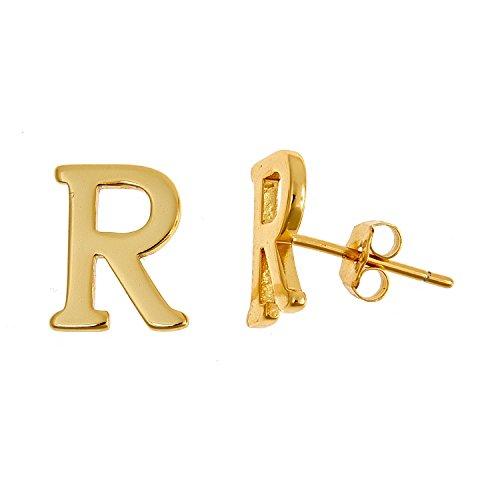 Sterling Silver Block (14K Yellow Gold Plated .925 Sterling SIlver Block Letter Initian Earrings (J))