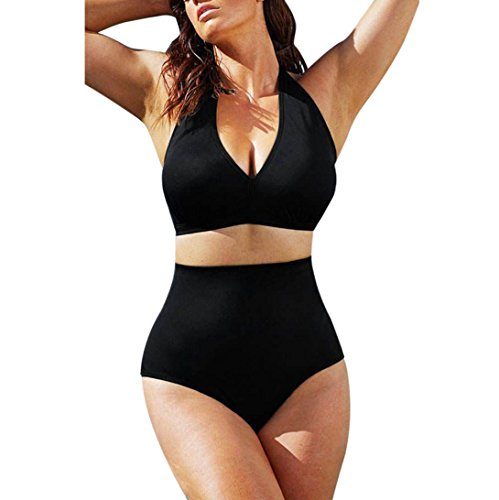 Classic Style Neck Wrapped Bikini, Luweki Women Push up Padded Bra High Waist Swimwear Swimsuit Plus Size (L, Black)