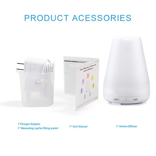 Large Product Image of Diffusers,Homeweeks 100ml Colorful Essential Oil Diffuser with Adjustable Mist Mode,Auto Off Aroma Diffuser for Bedroom/Office/Trip