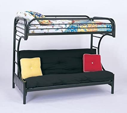 Amazon Com Montgomery Twin Over Full Futon Bunk Bed Glossy Black