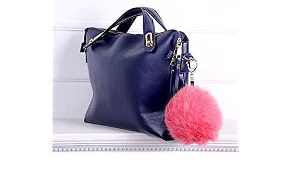 Amazon.com  Real fur Fluffy Ball Pom pom Keychain Handbag Key Ring for Car  Pink  Handmade b824191dc9d0e