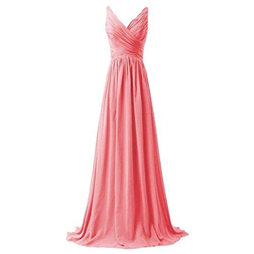 Vestido Roja La Baile De Backless Fin Bandolera Qiyun Mujeres V Dama Del z Honor Cola Sandía Curso cuello Largo xFwx1U0qB