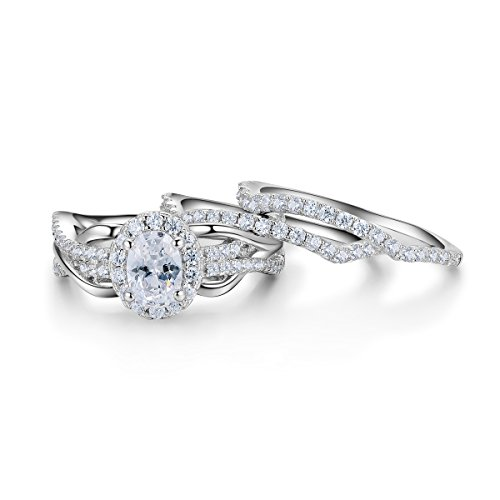 Newshe 3pcs 2Ct Oval White Cz Created Blue Sapphire 925 Sterling Silver Wedding Engagement Ring Set