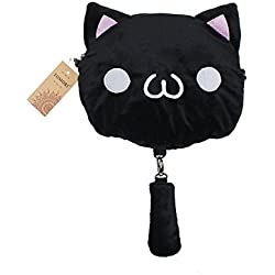 TOMORI® Cute Women Anime Kaomoji-kun Emotiction plush kawaii Cat single Cross Body shoulder bag (Black)