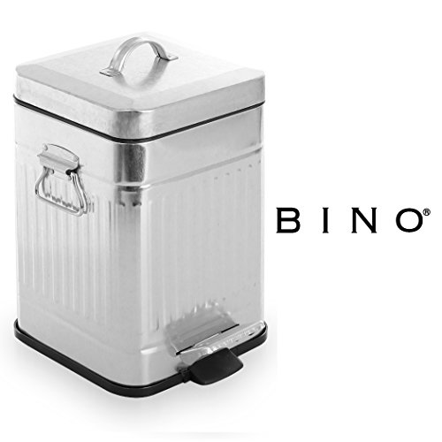 BINO Stainless Steel 1.3 Gallon / 5 Liter Square Oscar Step Trash Can, Galvanized Steel