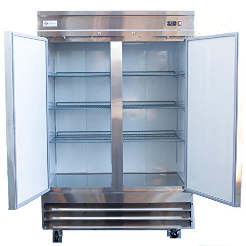 Alpha Chef Equipment Commercial Reach-In Refrigerator – 47 CuFt. Stainless-Steel Double Solid Door