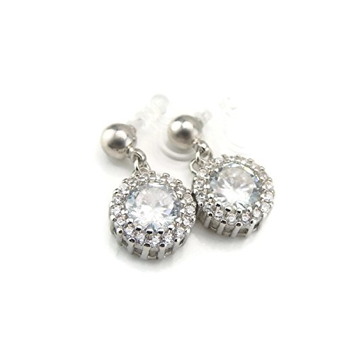 Halo Clear Glass Rhinestone Drop Invisible Clip On Earrings for Non-Pierced Ears, Silver-Tone