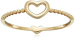 14k Yellow Gold Heart Ring, Size 7