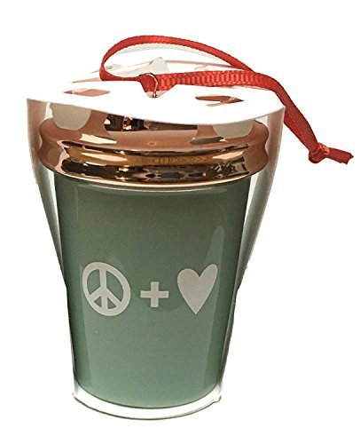 Starbucks 2017 Holiday Cup Ornament Peace & Love Rose Gold Mint