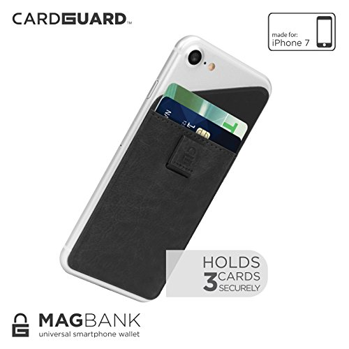 Card Guard Magnetic Bank Universal Adhesive Card Wallet for iPhone 7 - Black (Universal Protector Reusable Screen)