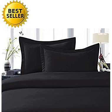 Elegant Comfort 1500 Thread Count Luxury Egyptian Quality Wrinkle and Fade Resistant 4-Piece Sheet Set, King, Black