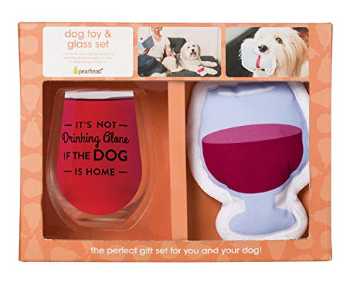 Dog Wine Bottle - Pearhead Glass Gift Set, Perfect for The Pet Owner Or Cat and Dog Lover, White