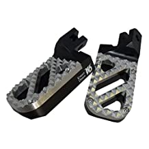 Knight Design Lowered Wide Foot Peg Pair for Suzuki V-Strom 650 and 1000 models, 7/8 inch lower than stock, Black base with Stainless Steel Hunter tread