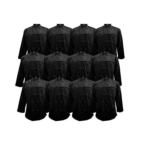 Chef Apparel Knot Button Chef Coat Multi Pack Black Color (12, 3X-Large)