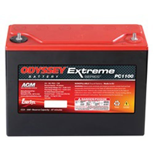 Odyssey Battery PC1100 Extreme Racing Battery; 1100 PHCA; 500 CCA; RC Min. 87; L-9.8 in.; W-3.8 in.; H-8.1 in.; w/Tin Plated Brass M6 Stud Terminals; - Odyssey Racing Batteries