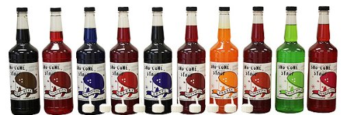 Snow Cone & Shave Ice Syrup-10 Quart Assortment (Sno Accessories Cone)