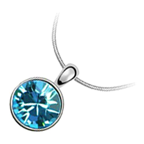 Price comparison product image GWG 18K White Gold Plated Sparkling Round Aquamarine Sea Blue Crystal Classic Pendant Necklace for Women
