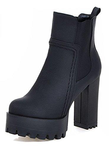 Aisun Damesmode Dikke Zool Chic Elastische Ronde Neus Chelsea Laarzen Pull-on Blok Hoge Hak Platform Enkellaarsjes Zwart