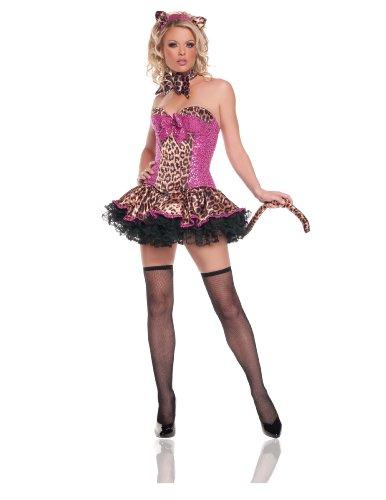 [Starline Women's Sequins Leopard Sexy Costume Set, Pink/Brown, Medium] (Sexy Leopard Costumes)