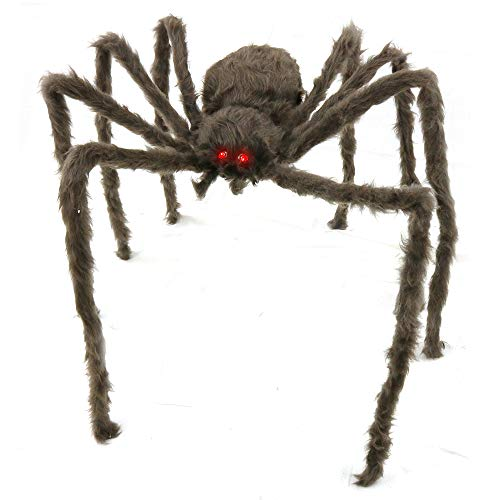 Big Mo's Toys Creepy Spider - Hairy Real Look Tarantula Spider with Red LED Eyes - 1 Piece ()