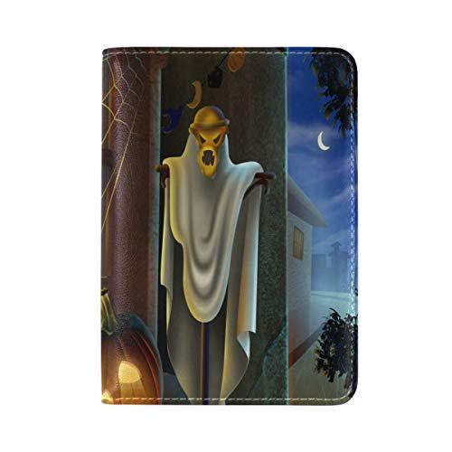 Passport Holder Halloween Pumpkin Lantern Scary Props Passport Cover Case Leather One Pocket for Women/Men Travel
