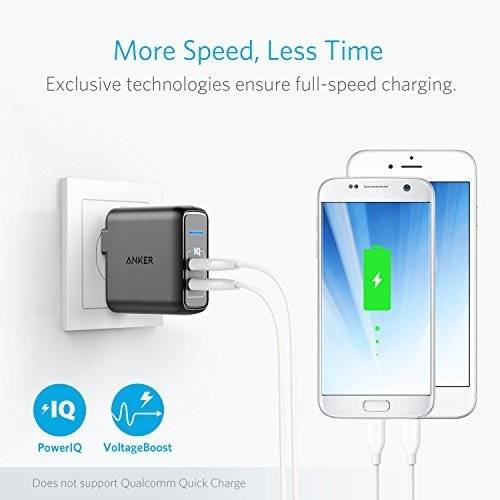 Anker Elite Dual Port 24W USB Travel Wall Charger PowerPort 2 with PowerIQ and Foldable Plug, for iPhone 7 / 7 Plus / 6s / 6s Plus, iPad Pro / Air 2 / mini 3 / mini 4, Samsung Note 4, and More