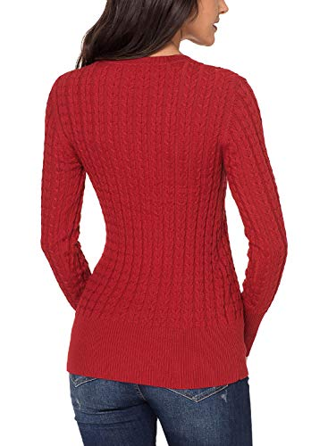 Azokoe 2018 Knit for Women Winter Ribbed Solid Cable Knit Classic Long Sleeve V Neck Knitted Pullover Jumper Basic Sweaters Fitted Top Red M Size 6 8 by Azokoe (Image #2)