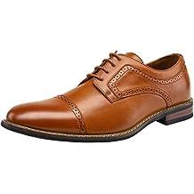 JOUSEN Mens Oxford Plain Toe Brogue Formal Dress Shoes
